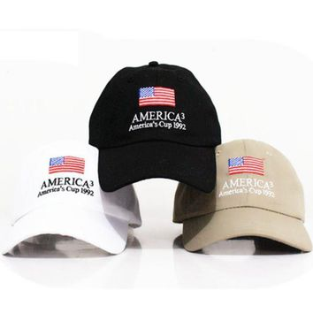 PEAPDQ7 The New Trendy American Flag Embroidered Cotton Baseball Cap Hats
