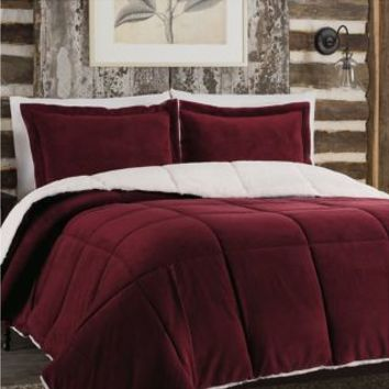 So-Soft™ Plush Reversible Comforter Set in Burgundy