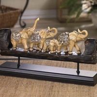 Bejeweled Elephant Family Carved Decor