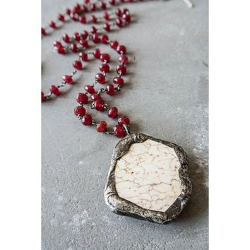 Faith Ruby Antique Necklace with White Turquoise Slab