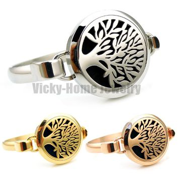SIlver, Gold and Copper Color Tree of Life 30mm Aromatherapy Diffuser Locket Bracelet