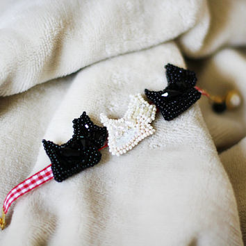 Friendship Bracelets three Scottish Terrier handmade, one white, two black