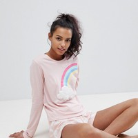 ASOS Rainbow Cloud Long Sleeve Tee and Short Jersey Pyjama Set at asos.com