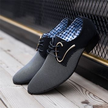 ( White, Blue) Men's Lace-up Casual Pointed Trendy Leather Shoes