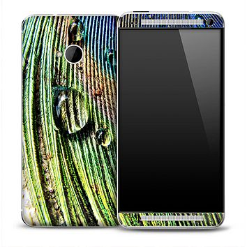 Wet Peacock Feather Skin for the HTC One Phone