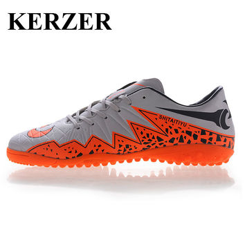 KERZER Man Kids Sports Indoor Football Shoes Gray/Blue Soccer Boot Turf Cleats Cheap Soccer Shoes Leather Football Trainers