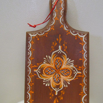 Folk Art Hand Painted Bread Board Cutting Board