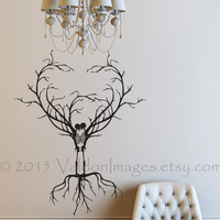 Soul mates skeleton wall decal, tree wall decal, tree of life wall decal, tree wall art, gothic wall decal, Halloween wall decal, skeleton
