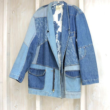 Vintage 80s denim jacket / coat / size L /  Mens / Womens / Michael Sloane / 60s Statement art jacket / acid washed / Oversized