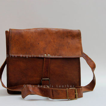 leather handbag (11 inch handmade soft )/ Messenger/ IPAD/ Shoulder Bag/ LaptopBag/ Briefcase