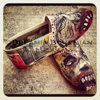 Zombies painted on TOMS Walking Dead Halloween zombie scary ghouls Toms included