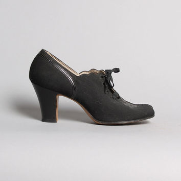 30s-40s Black Lace-Up OXFORDS / Cut-Out Deco Peep Toe HEELS , 5