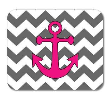 "DistinctInk Custom Foam Rubber Mouse Pad - 1/4"" Thick - Grey White Pink Chevron Anchor"