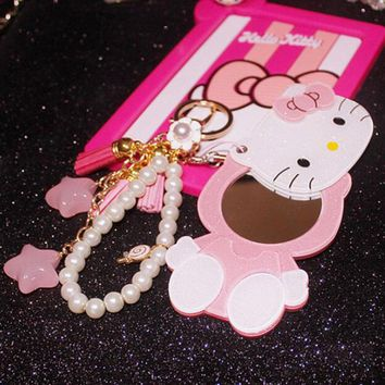 CXZYKING Cute Hello Kitty Action Figure Cartoon Cat Model Collection Kids Toys Ornament Animation Kitty Pendant Mirror