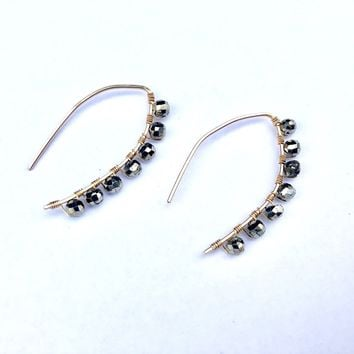 Turin Wrapped Gold Pyrite Earrings
