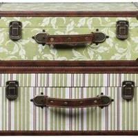 Jenna Canvas and Wood Suitcase - set of 2