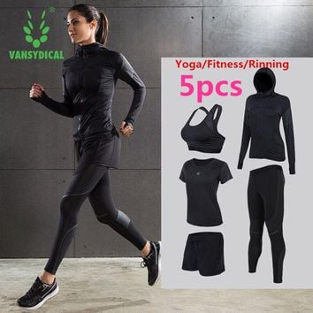 Brand 2017 Sport Suits Women's Fitness Yoga Set Running Sportswear Tights Training Jogging Suit Gym Sports Clothes Set 4 5pcs