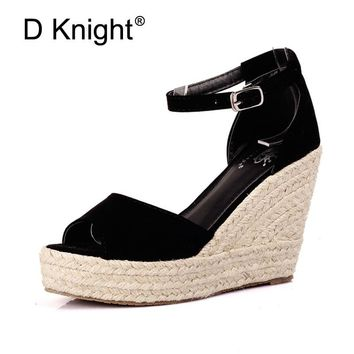2018 Elegant Fashion Women's Open Toe Straw Braid Wedges Sandals Velvet Platform Wedges Summer Shoes High Heels Sandals Hot Sale