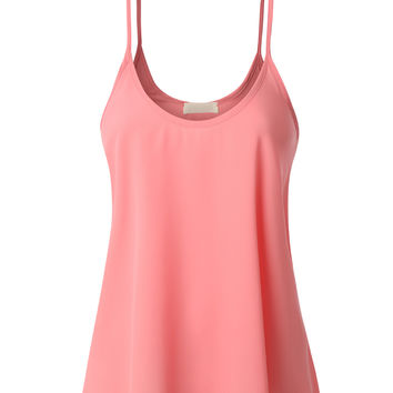 LE3NO Womens Semi Sheer Flowy Sleeveless Tank Top (CLEARANCE)