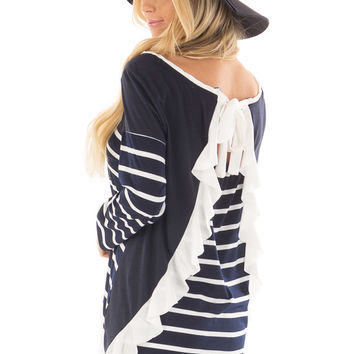 Navy Striped Top with Back Drawstring and Ruffle
