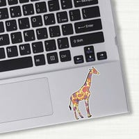 Small Yellow Giraffe Laptop Decal - Colorful Design Paisley Bumper Sticker Car Decal Sticker Pink Green Teal Yellow Cute Animal Art