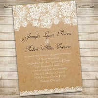 Modern rustic wedding invitations set - free rsvp card and envelope – floral lace and burlap design wedding invites EWI270