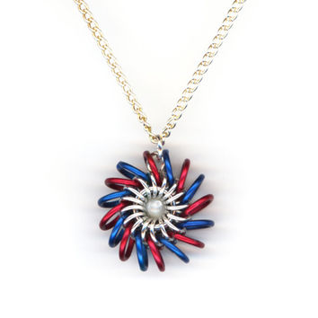Patriotic Whirlybird Pendant Red Blue and Silver with Chain Necklace, Chainmail Style