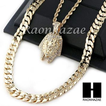 "MEN KING TUT ROPE DIAMOND CUT 30"" CUBAN LINK CHAIN NECKLACE SET SS01G"