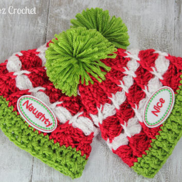 "First Christmas newborn twins ""NAUGHTY and NICE"" beanie set, 0-3 months, newborn photo prop"