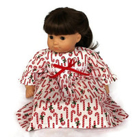Candy Canes Doll Nightie Christmas Pajamas Nightgown Holidays Winter Red White Green Bitty Twin 14 to 16 in Baby Doll -US Shipping Included