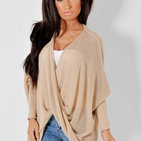 Faylinn Sand Cross Over Knitted Top | Pink Boutique