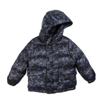 Minster Down Camo Puffer Jacket, Blue, Size 4-14,