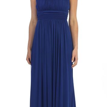 Celavie 6283 Grecian Beaded Neckline Long Formal Dress Royal Blue