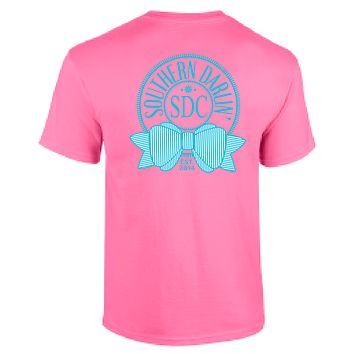 Southern Darlin Round Logo Bow Anchor Pink Bright Girlie T-Shirt