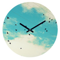 Shannon Clark Blue Skies Ahead Round Clock