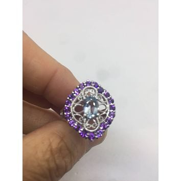Vintage Handmade Pale Genuine Blue Topaz and Amethyst 925 Sterling Silver Gothic Ring