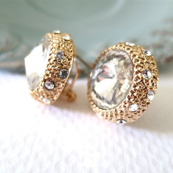 Crystal Stud Bridal Earrings Wedding Studs Cubic Zirconia Gold Rhinestone
