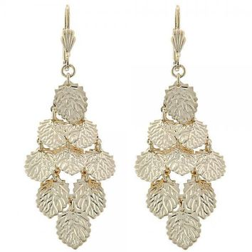 Gold Layered 5.087.010 Chandelier Earring, Leaf Design, Diamond Cutting Finish, Gold Tone