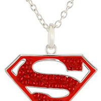 DC Comics Supergirl Superman Silver-Plated Crystal Pendant Necklace