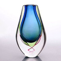 "Aqua Blue Sommerso Handblown Multi-color Art Glass Vase 10"" tall"