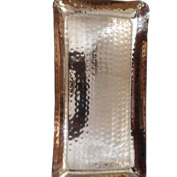 """Copper Hammered Rectangle Serving Tray 12X6"""" Hotel Home Decor Bar Tray Elegant New"""