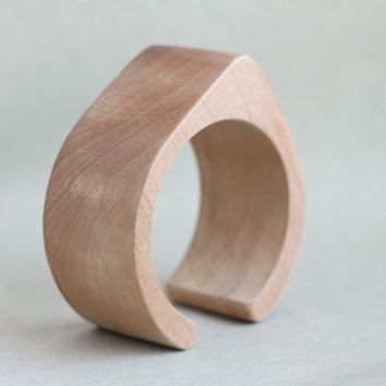 45 mm Wooden cuff unfinished drop shape - natural eco friendly TA45