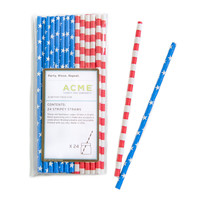 Asst. Stars & Stripes Straws, Set of 24, Glassware Sets w/ Decanters/Shakers/Pitchers