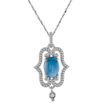 "Sterling Silver Swiss Blue Topaz & .015 CTW Diamond 18"" Necklace"