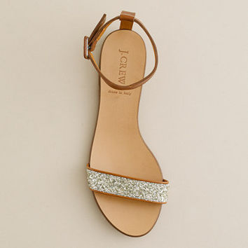 Crushed glitter sandals - flat sandals - Women's shoes - J.Crew