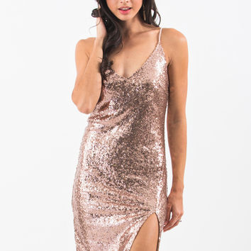 Diane Champagne Sequin Cami Dress With Slit