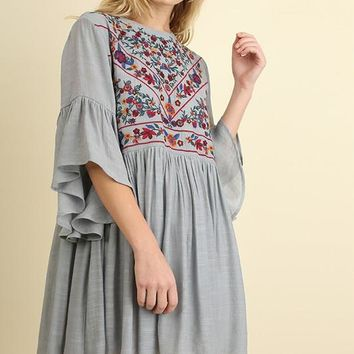 Dress w/ Floral Embroidery