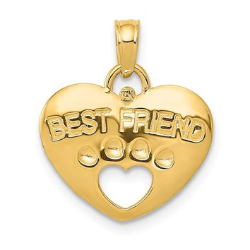 14K Yellow Gold Best Friend on Heart with Cut-Out Paw Pendant
