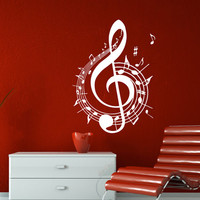 Wall Decal Vinyl Sticker Decals Art Home Decor Mural Note Musical Notes Waves Music Recording Studio Treble Clef Floral Patterns AN431