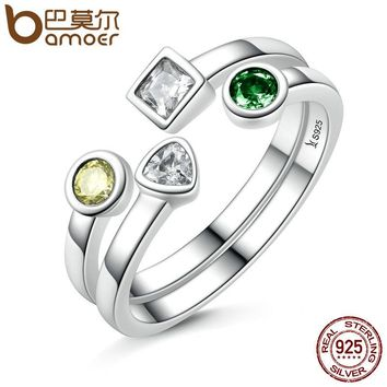 BAMOER 100% 925 Sterling Silver Double Layer Finger Ring Set & Clear CZ Vintage Rings Adjustable Sterling Silver Jewelry SCR106